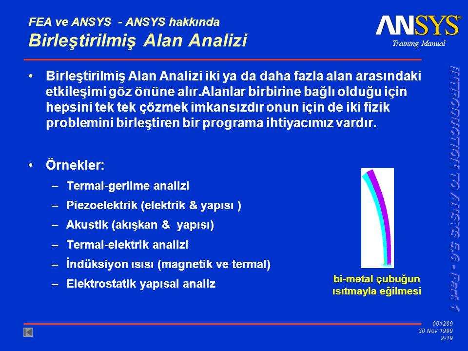 Training Manual 001289 30 Nov 1999 2-19 bi-metal çubuğun ısıtmayla eğilmesi FEA ve ANSYS - ANSYS hakkında Birleştirilmiş Alan Analizi Birleştirilmiş A