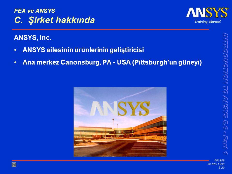 Training Manual 001289 30 Nov 1999 2-20 FEA ve ANSYS C. Şirket hakkında ANSYS, Inc. ANSYS ailesinin ürünlerinin geliştiricisi Ana merkez Canonsburg, P