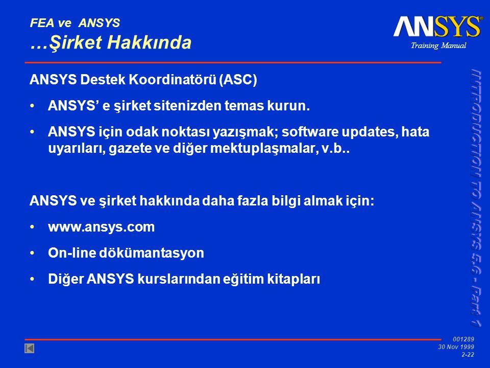 Training Manual 001289 30 Nov 1999 2-22 FEA ve ANSYS …Şirket Hakkında ANSYS Destek Koordinatörü (ASC) ANSYS' e şirket sitenizden temas kurun. ANSYS iç