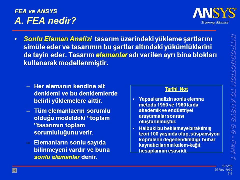 Training Manual 001289 30 Nov 1999 2-3 FEA ve ANSYS A. FEA nedir? Sonlu Eleman Analizi tasarım üzerindeki yükleme şartlarını simüle eder ve tasarımın
