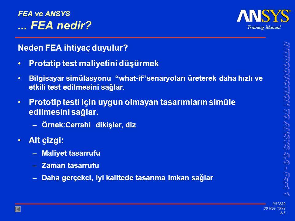 Training Manual 001289 30 Nov 1999 2-5 FEA ve ANSYS... FEA nedir? Neden FEA ihtiyaç duyulur? Protatip test maliyetini düşürmek Bilgisayar simülasyonu