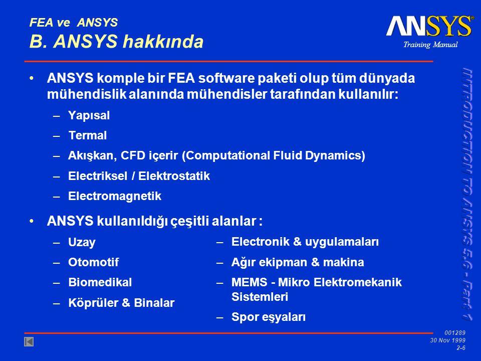 Training Manual 001289 30 Nov 1999 2-6 FEA ve ANSYS B. ANSYS hakkında ANSYS komple bir FEA software paketi olup tüm dünyada mühendislik alanında mühen