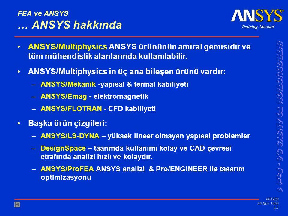 Training Manual 001289 30 Nov 1999 2-7 FEA ve ANSYS … ANSYS hakkında ANSYS/Multiphysics ANSYS ürününün amiral gemisidir ve tüm mühendislik alanlarında