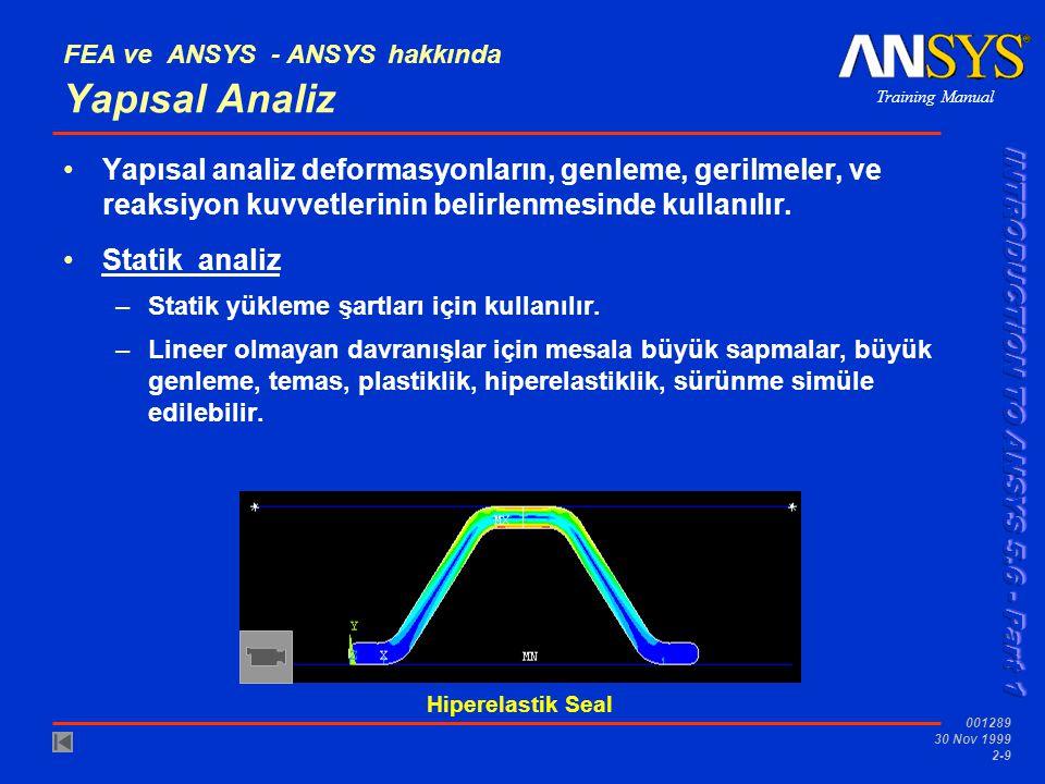Training Manual 001289 30 Nov 1999 2-9 Hiperelastik Seal FEA ve ANSYS - ANSYS hakkında Yapısal Analiz Yapısal analiz deformasyonların, genleme, gerilm