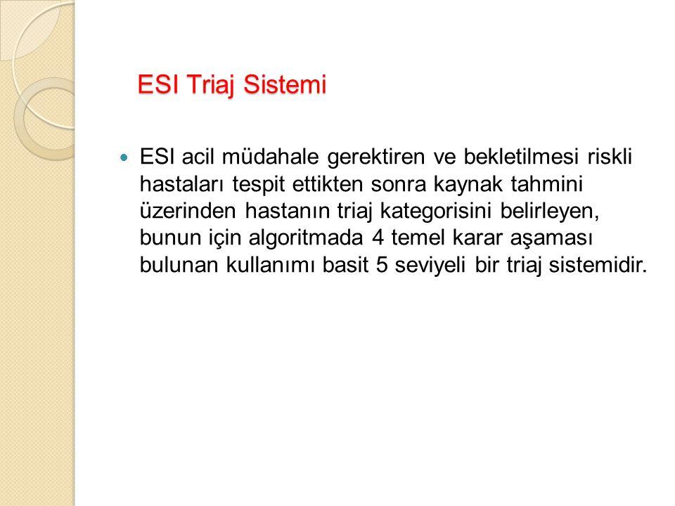 ESI Triaj Sistemi ESI acil müdahale gerektiren ve bekletilmesi riskli hastaları tespit ettikten sonra kaynak tahmini üzerinden hastanın triaj kategorisini belirleyen, bunun için algoritmada 4 temel karar aşaması bulunan kullanımı basit 5 seviyeli bir triaj sistemidir.
