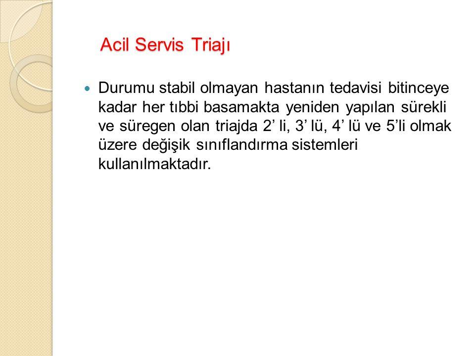 Acil Servis Triajı Durumu stabil olmayan hastanın tedavisi bitinceye kadar her tıbbi basamakta yeniden yapılan sürekli ve süregen olan triajda 2' li, 3' lü, 4' lü ve 5'li olmak üzere değişik sınıflandırma sistemleri kullanılmaktadır.