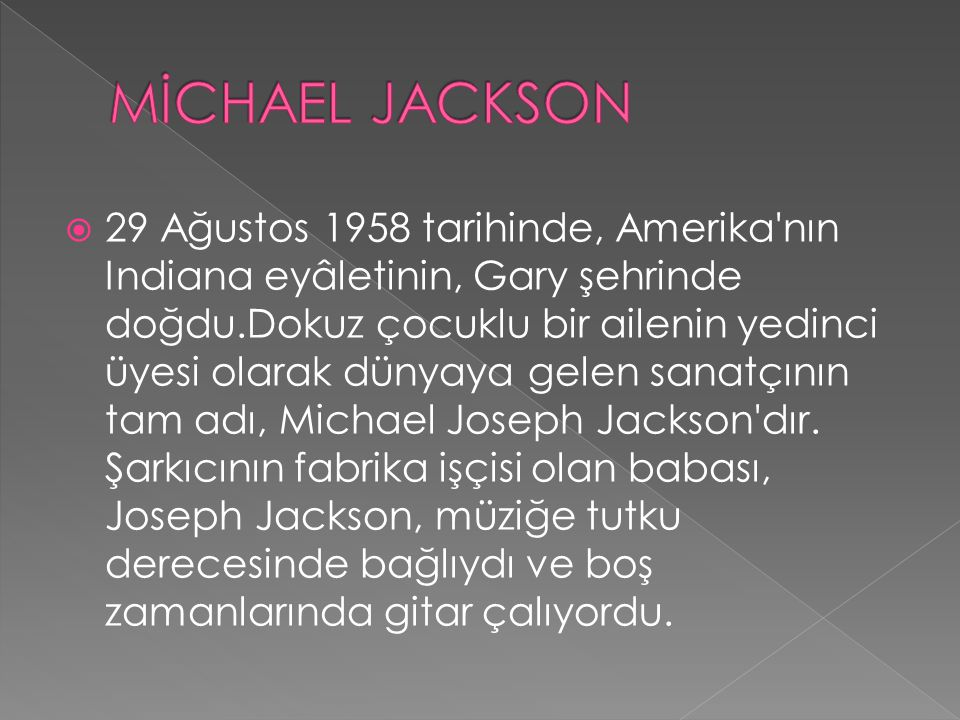  29 Ağustos 1958 tarihinde, Amerika'nın Indiana eyâletinin, Gary şehrinde doğdu.Dokuz çocuklu bir ailenin yedinci üyesi olarak dünyaya gelen sanatçın