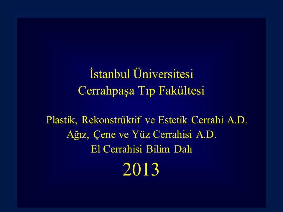 İstanbul Üniversitesi Cerrahpaşa Tıp Fakültesi Plastik, Rekonstrüktif ve Estetik Cerrahi A.D. Ağız, Çene ve Yüz Cerrahisi A.D. El Cerrahisi Bilim Dalı