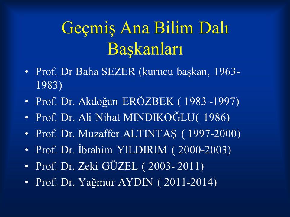 Geçmiş Ana Bilim Dalı Başkanları Prof. Dr Baha SEZER (kurucu başkan, 1963- 1983) Prof. Dr. Akdoğan ERÖZBEK ( 1983 -1997) Prof. Dr. Ali Nihat MINDIKOĞL