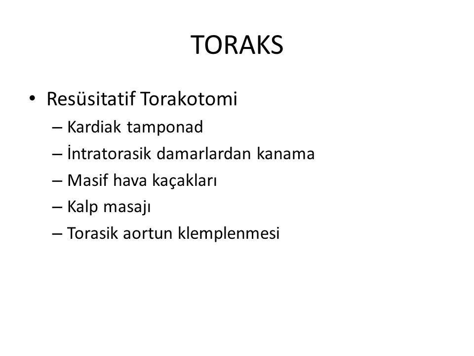 TORAKS Resüsitatif Torakotomi – Kardiak tamponad – İntratorasik damarlardan kanama – Masif hava kaçakları – Kalp masajı – Torasik aortun klemplenmesi