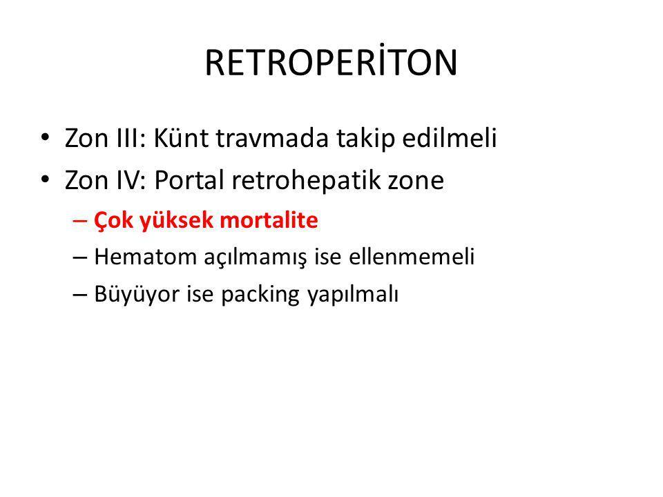 RETROPERİTON Zon III: Künt travmada takip edilmeli Zon IV: Portal retrohepatik zone – Çok yüksek mortalite – Hematom açılmamış ise ellenmemeli – Büyüyor ise packing yapılmalı