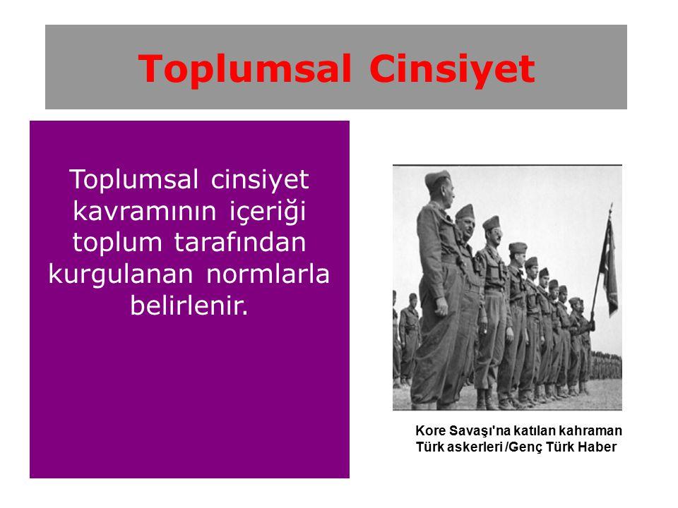 Toplumsal cinsiyet kavramının içeriği toplum tarafından kurgulanan normlarla belirlenir. Toplumsal Cinsiyet Kore Savaşı'na katılan kahraman Türk asker