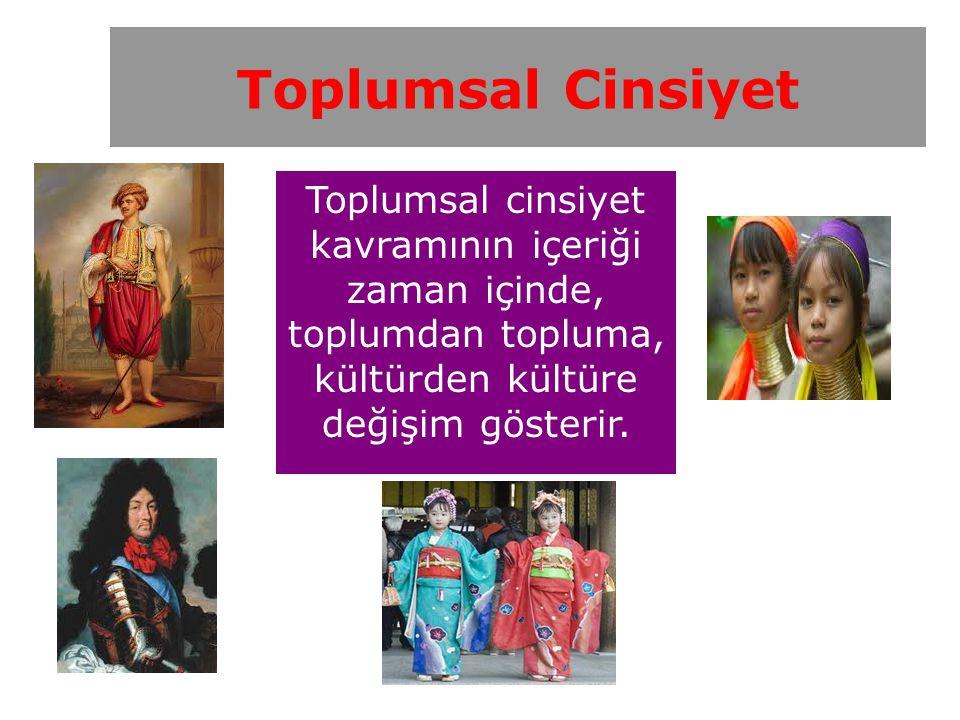 Toplumsal cinsiyet kavramının içeriği zaman içinde, toplumdan topluma, kültürden kültüre değişim gösterir.
