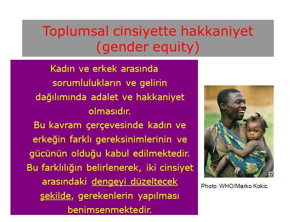 Toplumsal cinsiyette hakkaniyet (gender equity) Kadın ve erkek arasında sorumlulukların ve gelirin dağılımında adalet ve hakkaniyet olmasıdır.