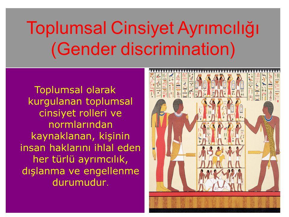 Toplumsal Cinsiyet Ayrımcılığı (Gender discrimination) Toplumsal olarak kurgulanan toplumsal cinsiyet rolleri ve normlarından kaynaklanan, kişinin insan haklarını ihlal eden her türlü ayrımcılık, dışlanma ve engellenme durumudur.