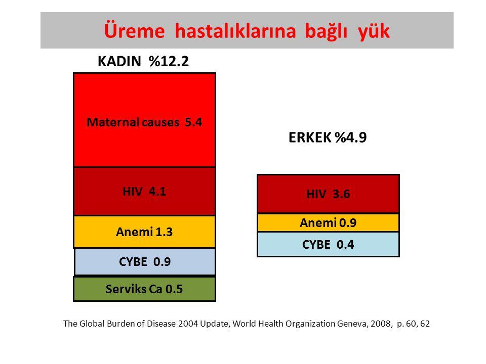 Maternal causes 5.4 CYBE 0.9 HIV 4.1 Serviks Ca 0.5 Anemi 1.3 Üreme hastalıklarına bağlı yük HIV 3.6 CYBE 0.4 Anemi 0.9 ERKEK %4.9 KADIN %12.2 The Global Burden of Disease 2004 Update, World Health Organization Geneva, 2008, p.