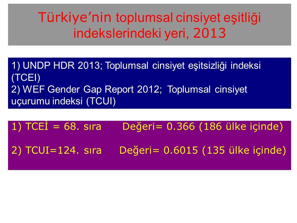 Türkiye'nin toplumsal cinsiyet eşitliği indekslerindeki yeri, 2013 1) TCEİ = 68. sıra Değeri= 0.366 (186 ülke içinde) 2) TCUI=124. sıra Değeri= 0.6015