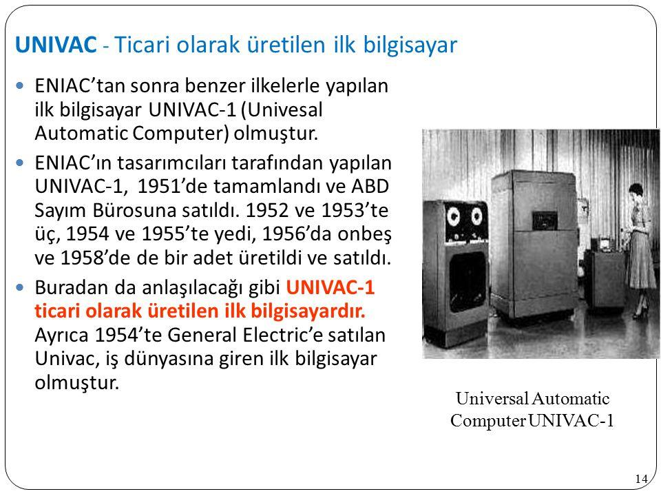 14 ENIAC'tan sonra benzer ilkelerle yapılan ilk bilgisayar UNIVAC-1 (Univesal Automatic Computer) olmuştur. ENIAC'ın tasarımcıları tarafından yapılan