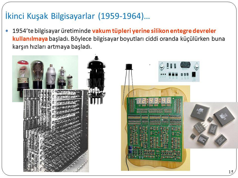 15 1954'te bilgisayar üretiminde vakum tüpleri yerine silikon entegre devreler kullanılmaya başladı. Böylece bilgisayar boyutları ciddi oranda küçülür