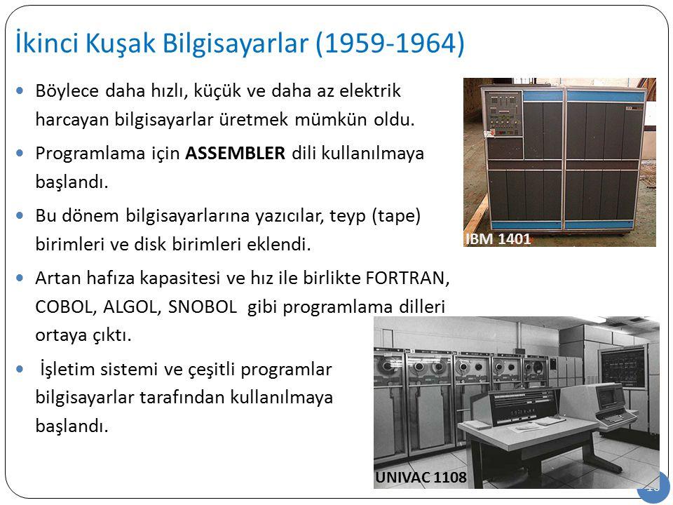 16 Böylece daha hızlı, küçük ve daha az elektrik harcayan bilgisayarlar üretmek mümkün oldu. Programlama için ASSEMBLER dili kullanılmaya başlandı. Bu