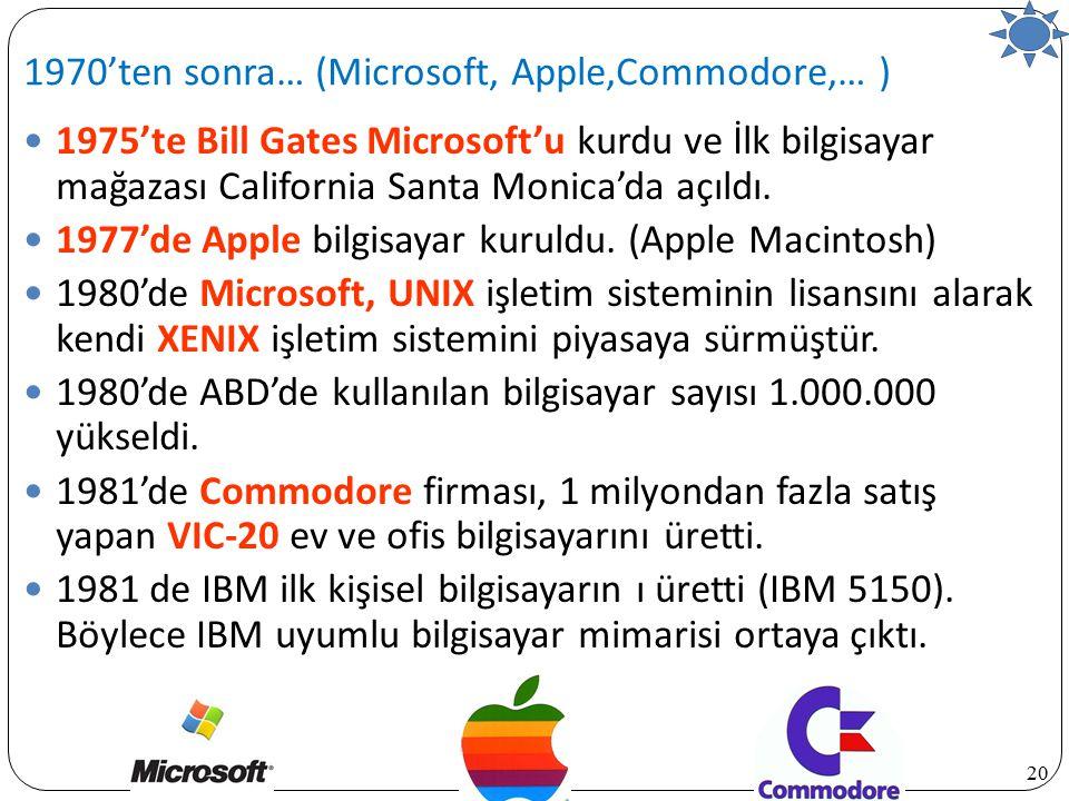 20 1975'te Bill Gates Microsoft'u kurdu ve İlk bilgisayar mağazası California Santa Monica'da açıldı. 1977'de Apple bilgisayar kuruldu. (Apple Macinto