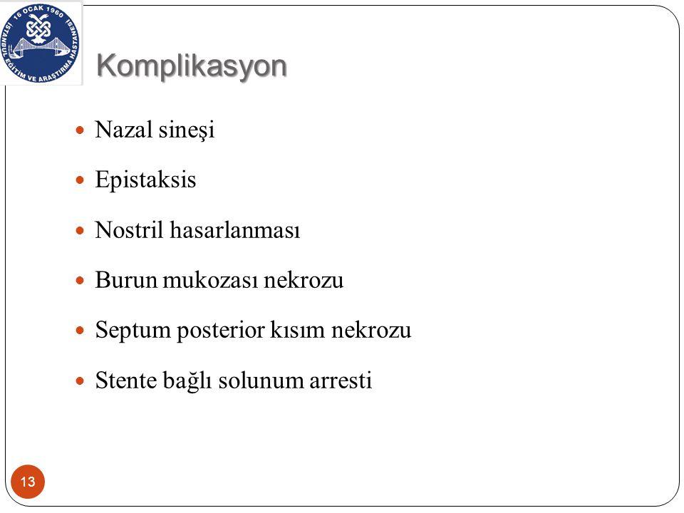 Komplikasyon 13 Nazal sineşi Epistaksis Nostril hasarlanması Burun mukozası nekrozu Septum posterior kısım nekrozu Stente bağlı solunum arresti
