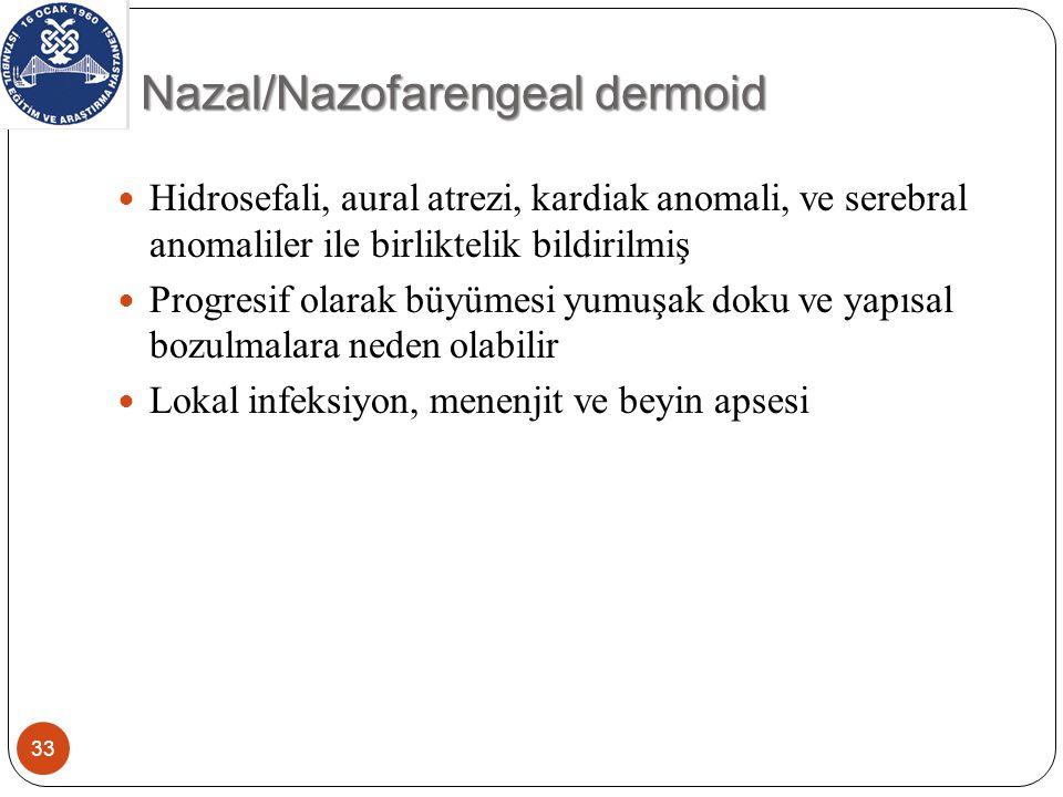 Nazal/Nazofarengeal dermoid 33 Hidrosefali, aural atrezi, kardiak anomali, ve serebral anomaliler ile birliktelik bildirilmiş Progresif olarak büyümesi yumuşak doku ve yapısal bozulmalara neden olabilir Lokal infeksiyon, menenjit ve beyin apsesi
