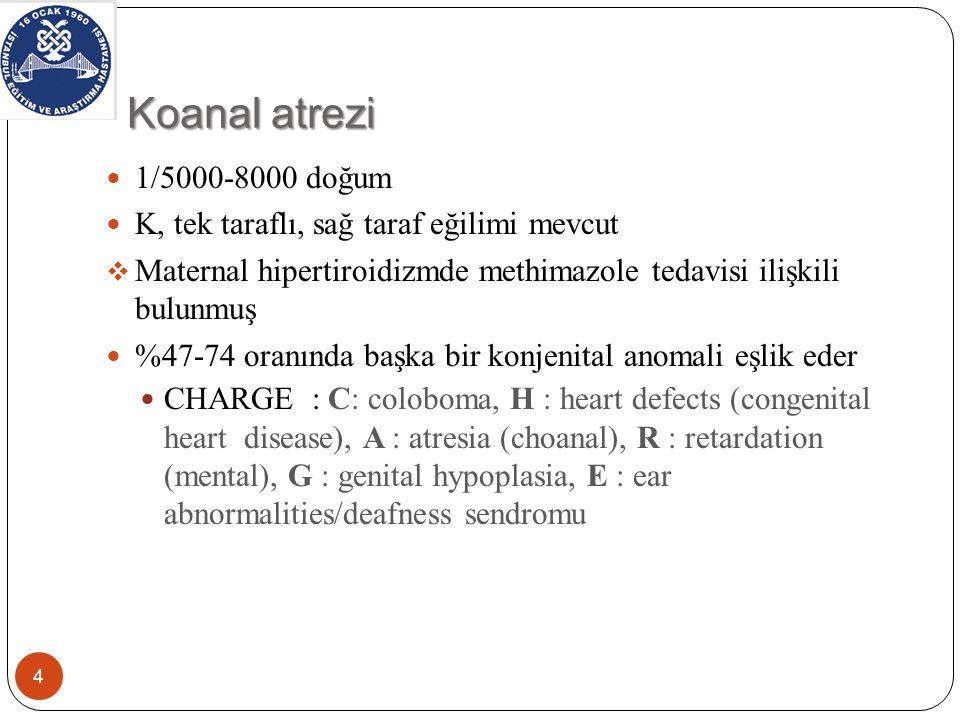 Koanal atrezi 1/5000-8000 doğum K, tek taraflı, sağ taraf eğilimi mevcut  Maternal hipertiroidizmde methimazole tedavisi ilişkili bulunmuş %47-74 oranında başka bir konjenital anomali eşlik eder CHARGE : C: coloboma, H : heart defects (congenital heart disease), A : atresia (choanal), R : retardation (mental), G : genital hypoplasia, E : ear abnormalities/deafness sendromu 4