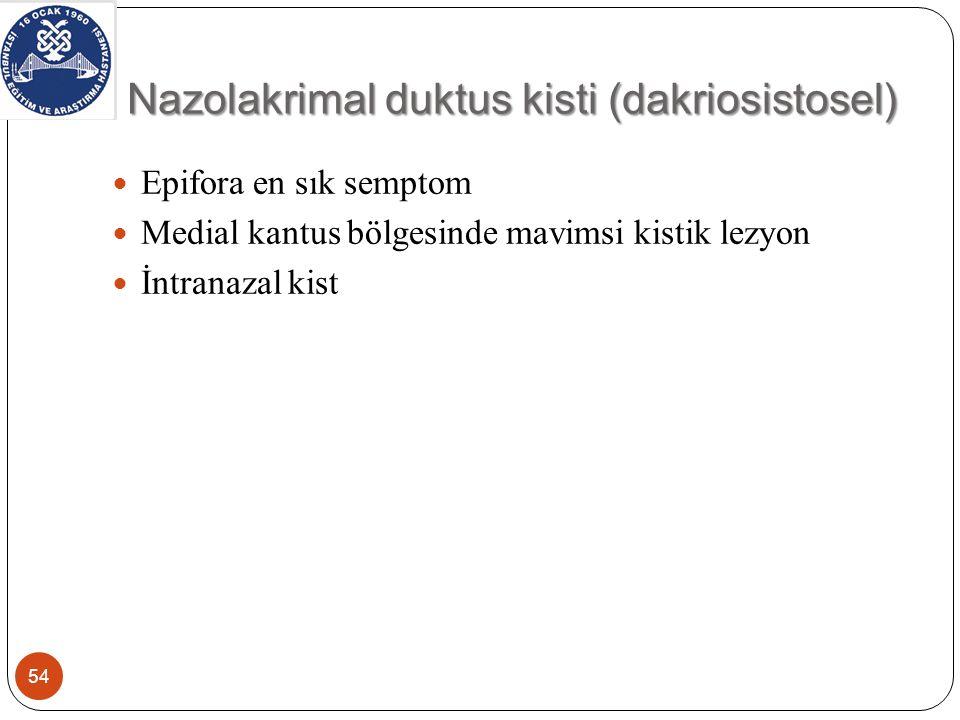 Nazolakrimal duktus kisti (dakriosistosel) 54 Epifora en sık semptom Medial kantus bölgesinde mavimsi kistik lezyon İntranazal kist