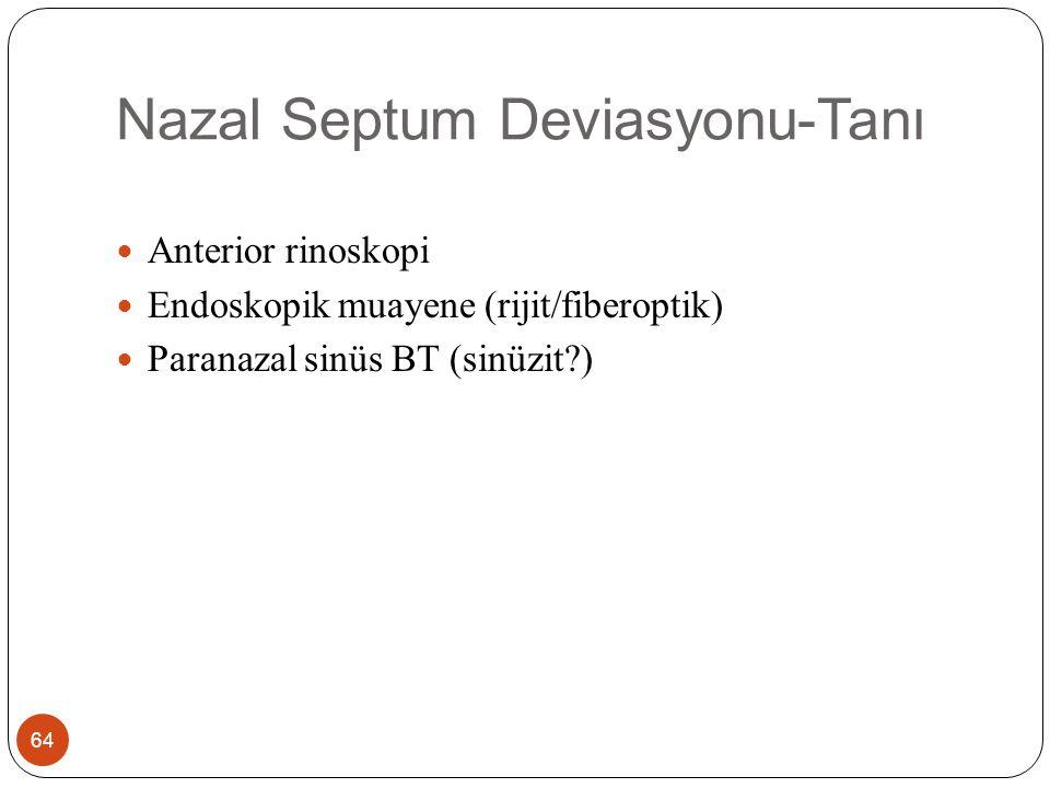 Nazal Septum Deviasyonu-Tanı 64 Anterior rinoskopi Endoskopik muayene (rijit/fiberoptik) Paranazal sinüs BT (sinüzit?)