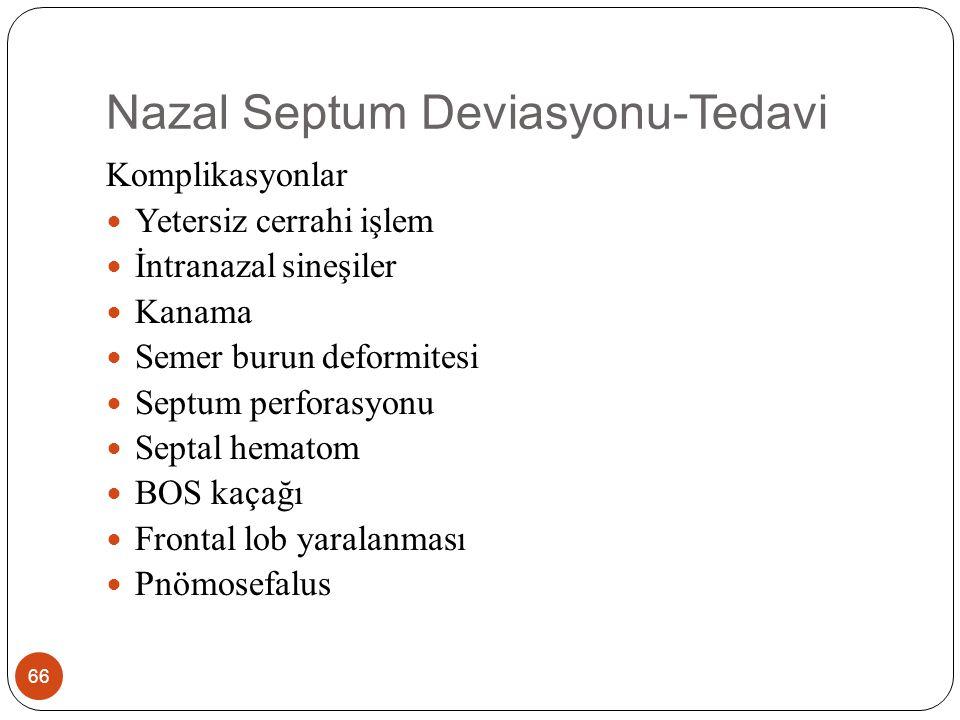 Nazal Septum Deviasyonu-Tedavi 66 Komplikasyonlar Yetersiz cerrahi işlem İntranazal sineşiler Kanama Semer burun deformitesi Septum perforasyonu Septal hematom BOS kaçağı Frontal lob yaralanması Pnömosefalus