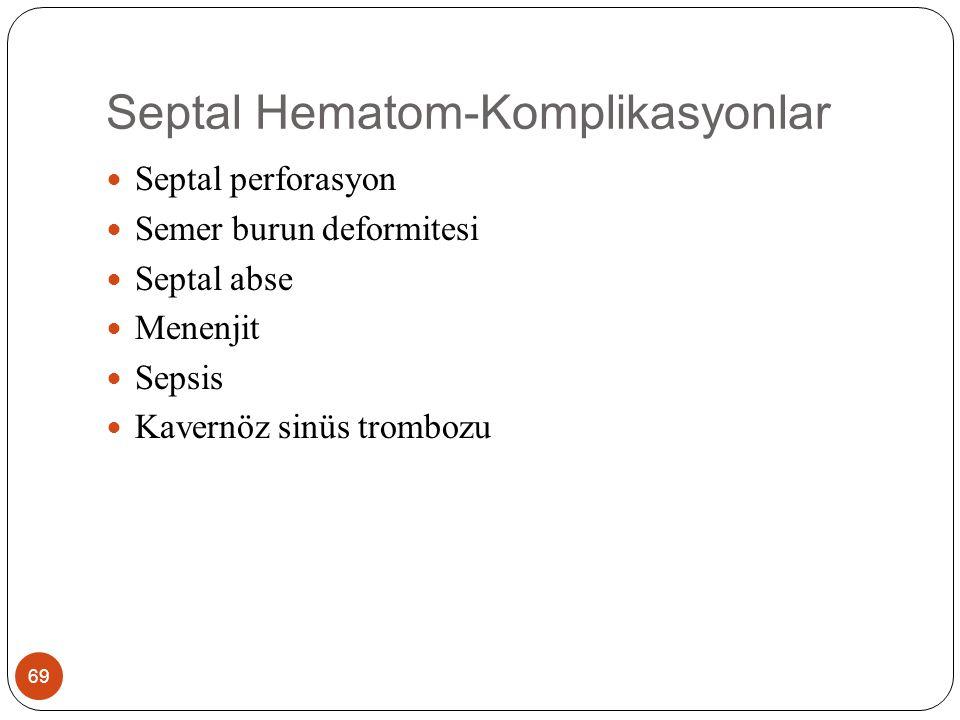 Septal Hematom-Komplikasyonlar 69 Septal perforasyon Semer burun deformitesi Septal abse Menenjit Sepsis Kavernöz sinüs trombozu