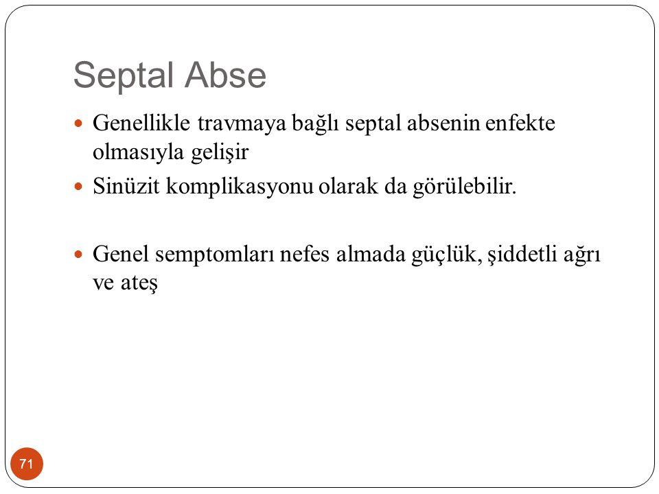 Septal Abse 71 Genellikle travmaya bağlı septal absenin enfekte olmasıyla gelişir Sinüzit komplikasyonu olarak da görülebilir.