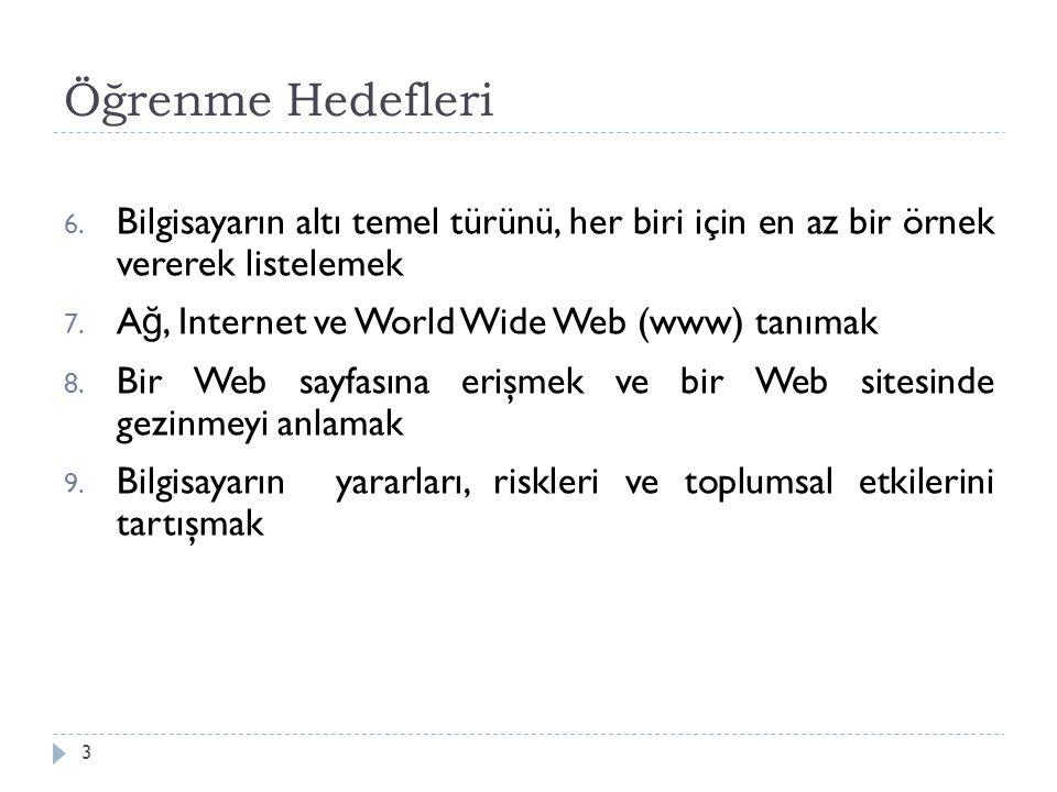 Öğrenme Hedefleri 3 6. Bilgisayarın altı temel türünü, her biri için en az bir örnek vererek listelemek 7. A ğ, Internet ve World Wide Web (www) tanım