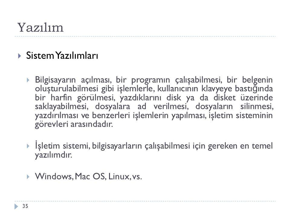 Yazılım 35  Sistem Yazılımları  Bilgisayarın açılması, bir programın çalışabilmesi, bir belgenin oluşturulabilmesi gibi işlemlerle, kullanıcının kla