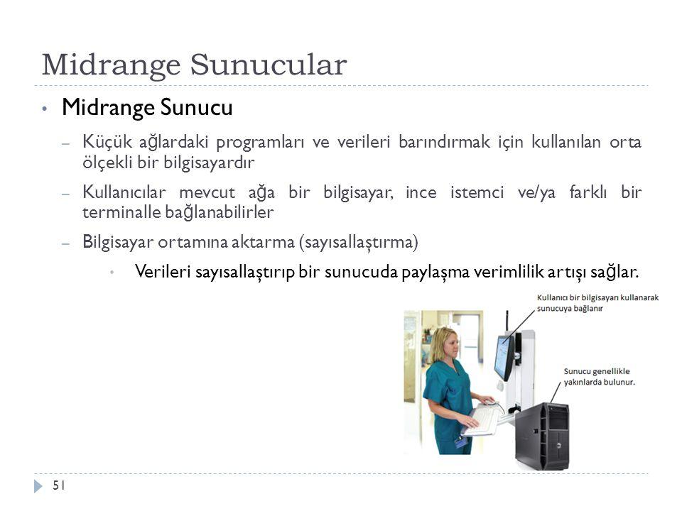 Midrange Sunucular 51 Midrange Sunucu – Küçük a ğ lardaki programları ve verileri barındırmak için kullanılan orta ölçekli bir bilgisayardır – Kullanı