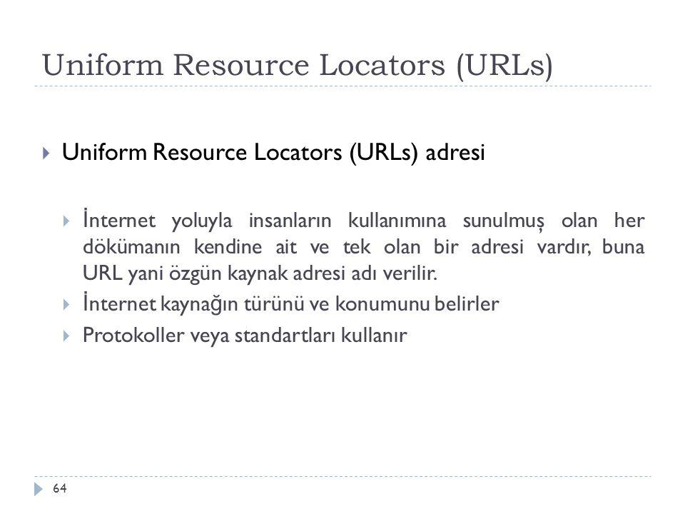 Uniform Resource Locators (URLs) 64  Uniform Resource Locators (URLs) adresi  İ nternet yoluyla insanların kullanımına sunulmuş olan her dökümanın k