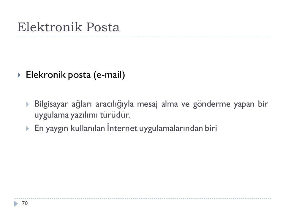 Elektronik Posta 70  Elekronik posta (e-mail)  Bilgisayar a ğ ları aracılı ğ ıyla mesaj alma ve gönderme yapan bir uygulama yazılımı türüdür.  En y