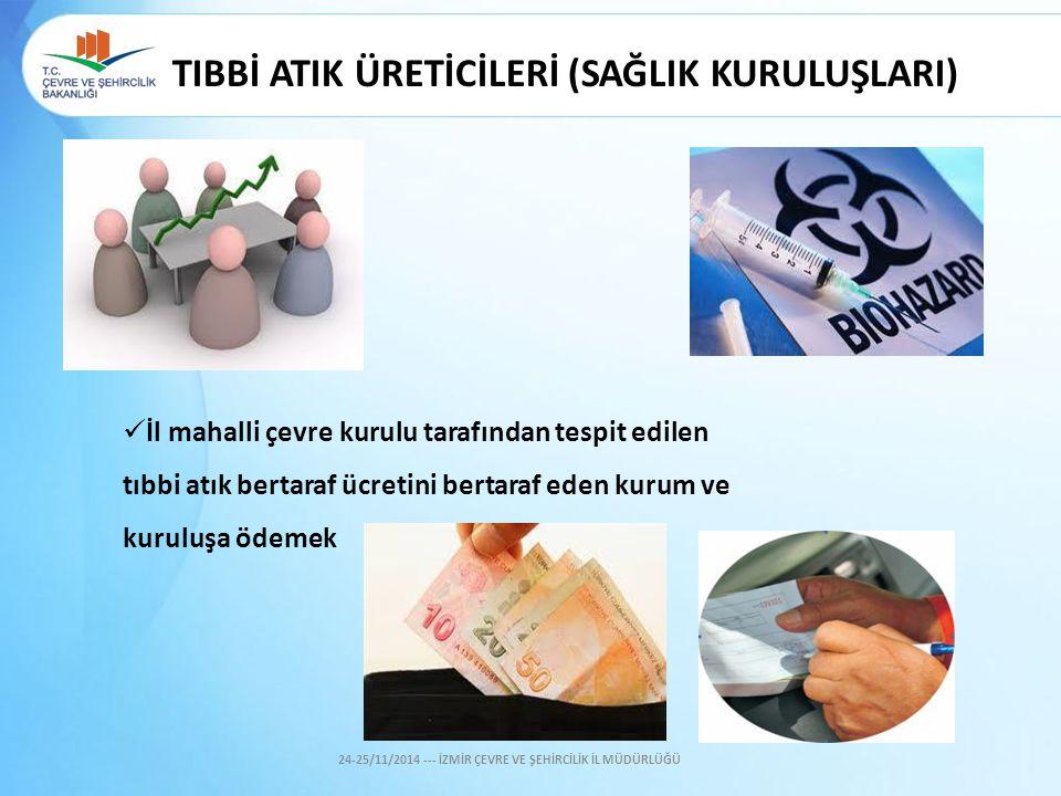 İl mahalli çevre kurulu tarafından tespit edilen tıbbi atık bertaraf ücretini bertaraf eden kurum ve kuruluşa ödemek 24-25/11/2014 --- İZMİR ÇEVRE VE