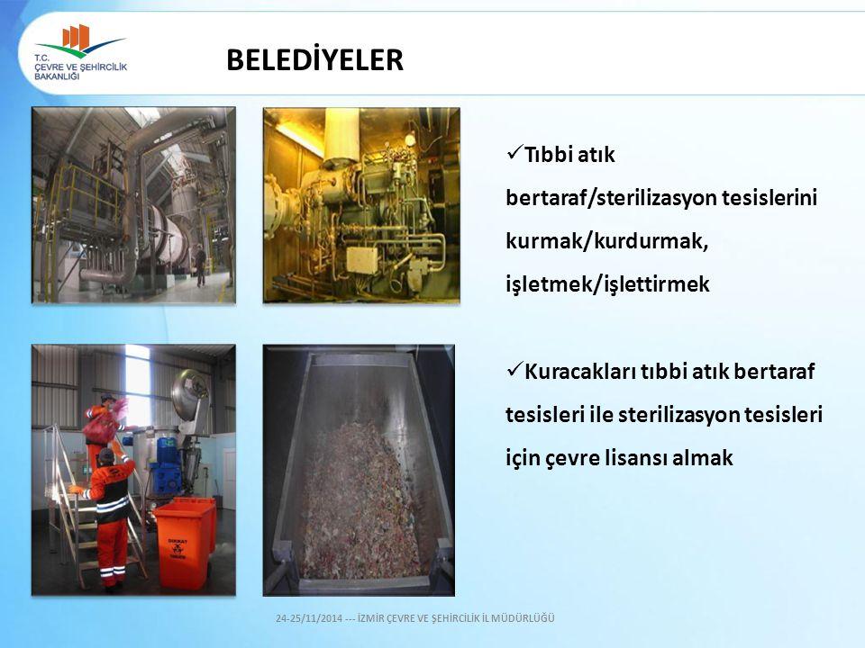 BELEDİYELER Tıbbi atık bertaraf/sterilizasyon tesislerini kurmak/kurdurmak, işletmek/işlettirmek Kuracakları tıbbi atık bertaraf tesisleri ile sterili