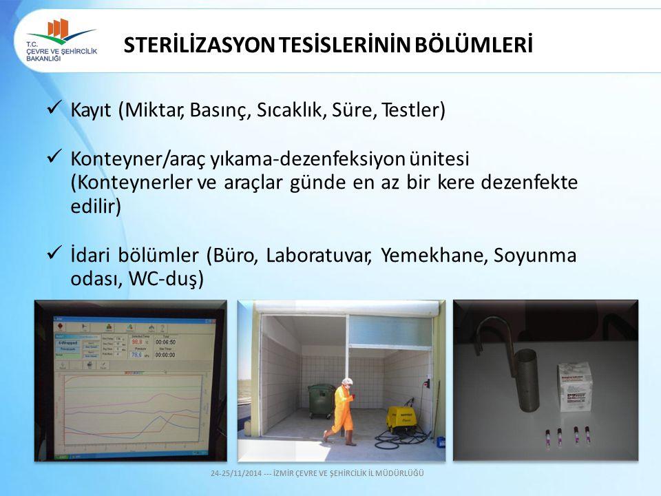 STERİLİZASYON TESİSLERİNİN BÖLÜMLERİ Kayıt (Miktar, Basınç, Sıcaklık, Süre, Testler) Konteyner/araç yıkama-dezenfeksiyon ünitesi (Konteynerler ve araç