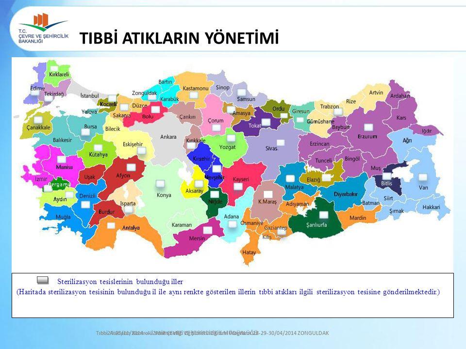 TIBBİ ATIKLARIN YÖNETİMİ Sterilizasyon tesislerinin bulunduğu iller (Haritada sterilizasyon tesisinin bulunduğu il ile aynı renkte gösterilen illerin