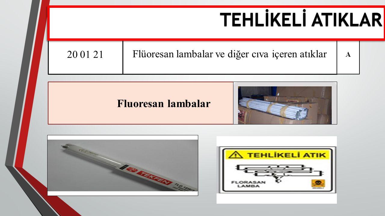 Tehlikeli Atıklar 20 01 21 Flüoresan lambalar ve diğer cıva içeren atıklar Fluoresan lambalar A TEHLİKELİ ATIKLAR