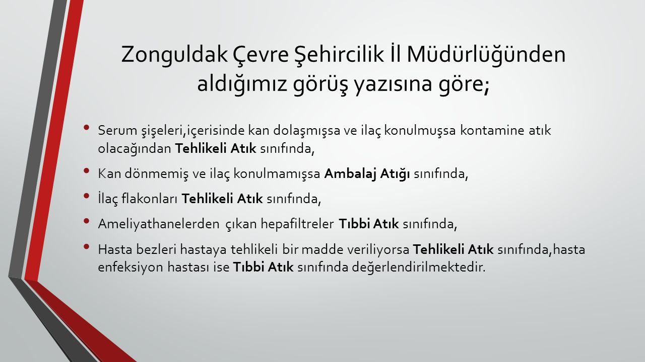 Zonguldak Çevre Şehircilik İl Müdürlüğünden aldığımız görüş yazısına göre; Serum şişeleri,içerisinde kan dolaşmışsa ve ilaç konulmuşsa kontamine atık