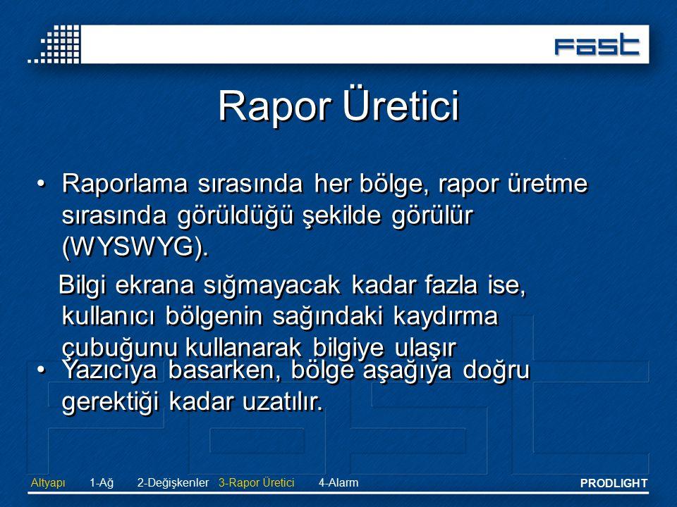 PRODLIGHT Rapor Üretici Altyapı2-Değişkenler 3-Rapor Üretici4-Alarm1-Ağ Raporlama sırasında her bölge, rapor üretme sırasında görüldüğü şekilde görülü