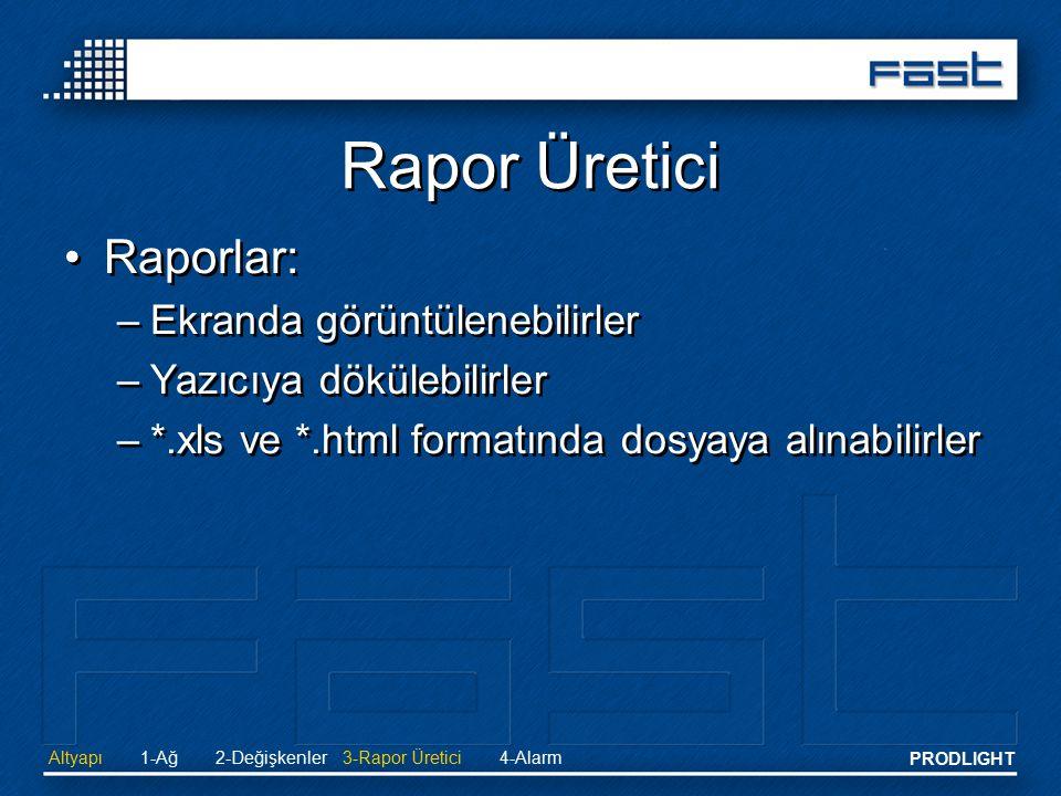 PRODLIGHT Rapor Üretici Raporlar: –Ekranda görüntülenebilirler –Yazıcıya dökülebilirler –*.xls ve *.html formatında dosyaya alınabilirler Raporlar: –E