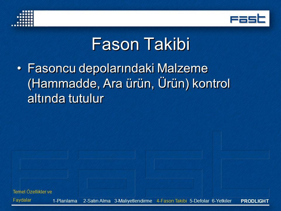 PRODLIGHT Fason Takibi Fasoncu depolarındaki Malzeme (Hammadde, Ara ürün, Ürün) kontrol altında tutulur Temel Özellikler ve Faydalar 2-Satın Alma3-Mal