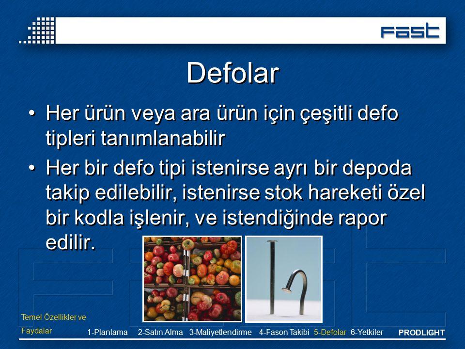PRODLIGHT Defolar Her ürün veya ara ürün için çeşitli defo tipleri tanımlanabilir Her bir defo tipi istenirse ayrı bir depoda takip edilebilir, isteni