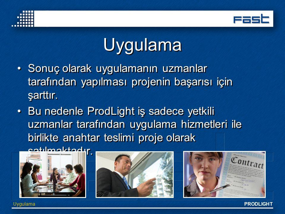 PRODLIGHT Uygulama Sonuç olarak uygulamanın uzmanlar tarafından yapılması projenin başarısı için şarttır. Bu nedenle ProdLight iş sadece yetkili uzman
