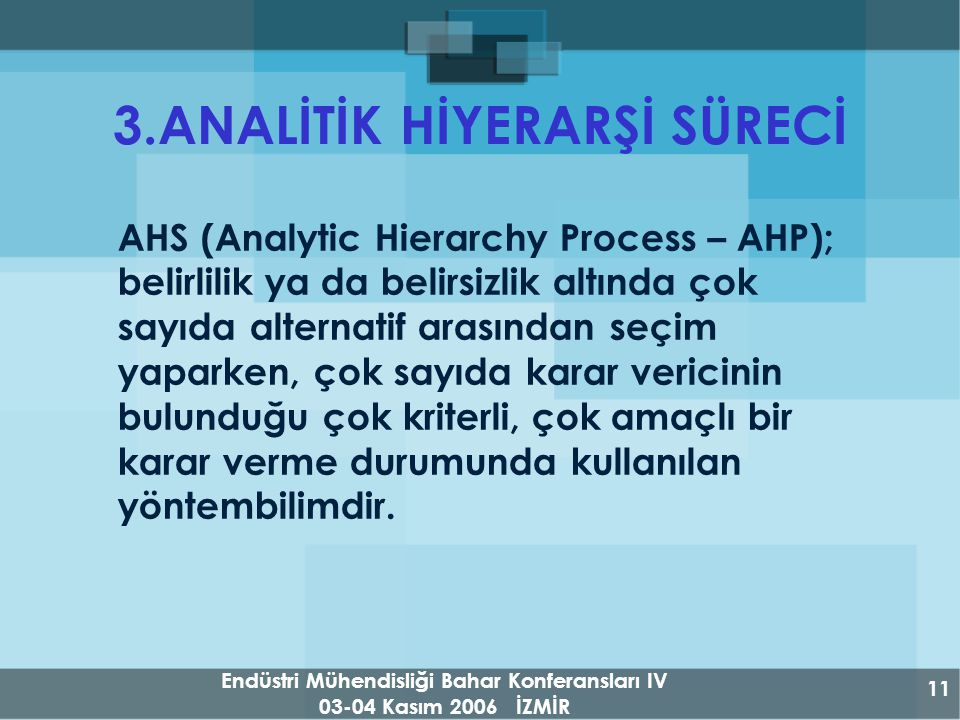 Endüstri Mühendisliği Bahar Konferansları IV 03-04 Kasım 2006 İZMİR 11 3.ANALİTİK HİYERARŞİ SÜRECİ AHS (Analytic Hierarchy Process – AHP); belirlilik ya da belirsizlik altında çok sayıda alternatif arasından seçim yaparken, çok sayıda karar vericinin bulunduğu çok kriterli, çok amaçlı bir karar verme durumunda kullanılan yöntembilimdir.